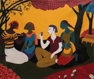untiteld by Nitai Das, Traditional Painting, Acrylic on Canvas, Brown color