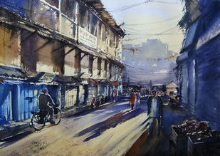 Good morning by Sunil Linus De, Impressionism Painting, Watercolor on Paper, Blue color