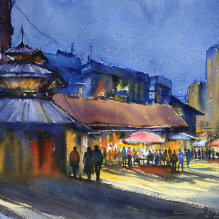 start up by Sunil Linus De, Impressionism Painting, Watercolor on Paper, Blue color