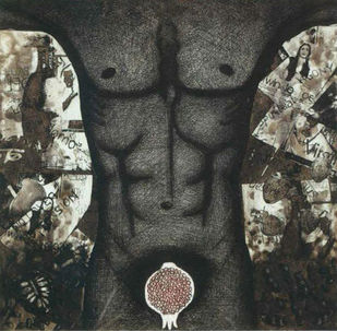 Torso by Vinaykumar Rudraswamimath, Expressionism Printmaking, Etching on Paper, Gray color
