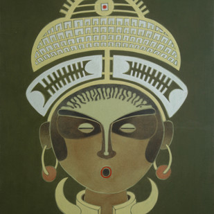 Gadabas Woman by Amrut Patel, Expressionism Painting, Acrylic on Board, Green color