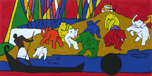 Folklore Kerala - I by M F Husain, Expressionism Printmaking, Serigraph on Paper, Brown color