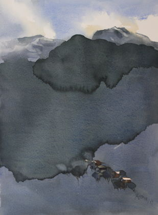 Himalayan blues by Prashant Prabhu, Minimalism Painting, Watercolor on Paper, Green color
