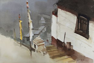 Over view of the Spiti landscape by Prashant Prabhu, Impressionism Painting, Watercolor on Paper, Gray color