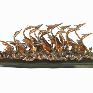 VOYAGE II by Biplab Sarkar, Art Deco Sculpture | 3D, Metal, White color