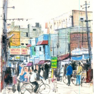 bandla street by Kiran Kumari B, Impressionism Painting, Oil on Paper, Gray color