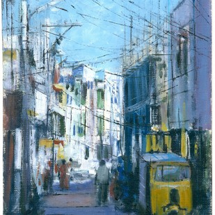 Bhavani Nagar by Kiran Kumari B, Impressionism Painting, Oil on Paper, Cyan color
