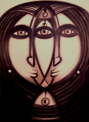 Untitled by Ananda Ahire, Expressionism Drawing, Charcoal on Paper, Brown color