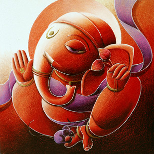Ganesha Digital Print by Dhananjay Mukherjee,Traditional