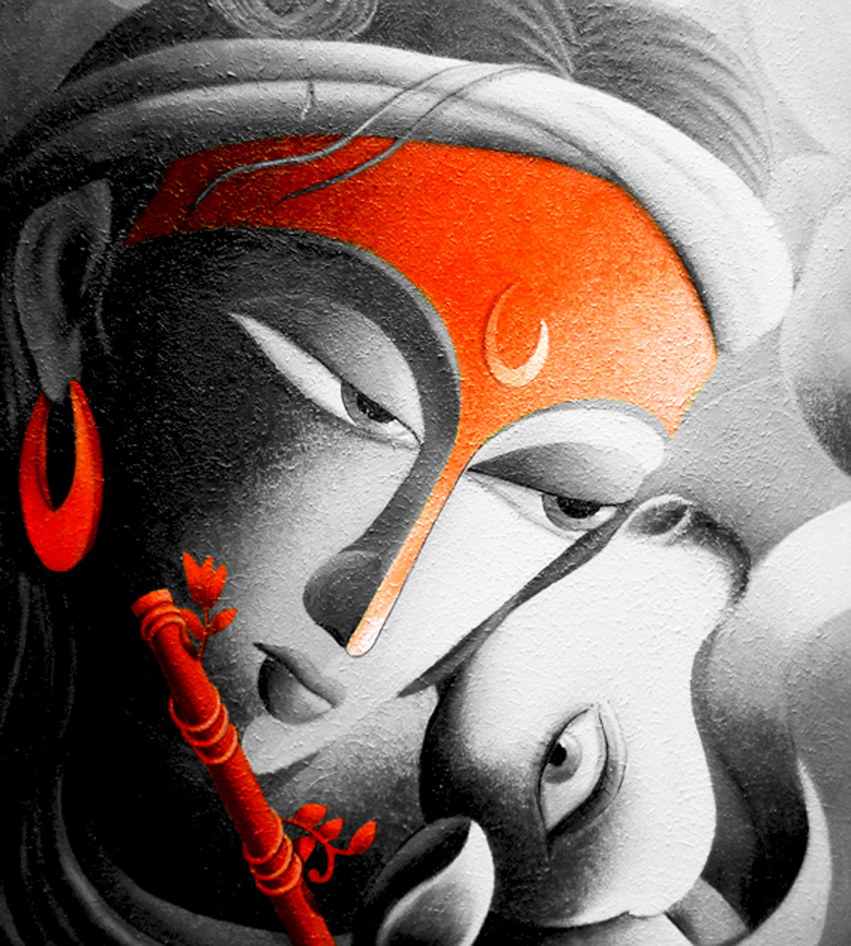 Mayavi I by Dhananjay Mukherjee, Traditional Painting, Acrylic on Canvas, Gray color