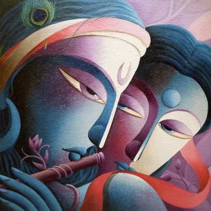 Mayavi III by Dhananjay Mukherjee, Decorative Painting, Acrylic on Canvas, Blue color