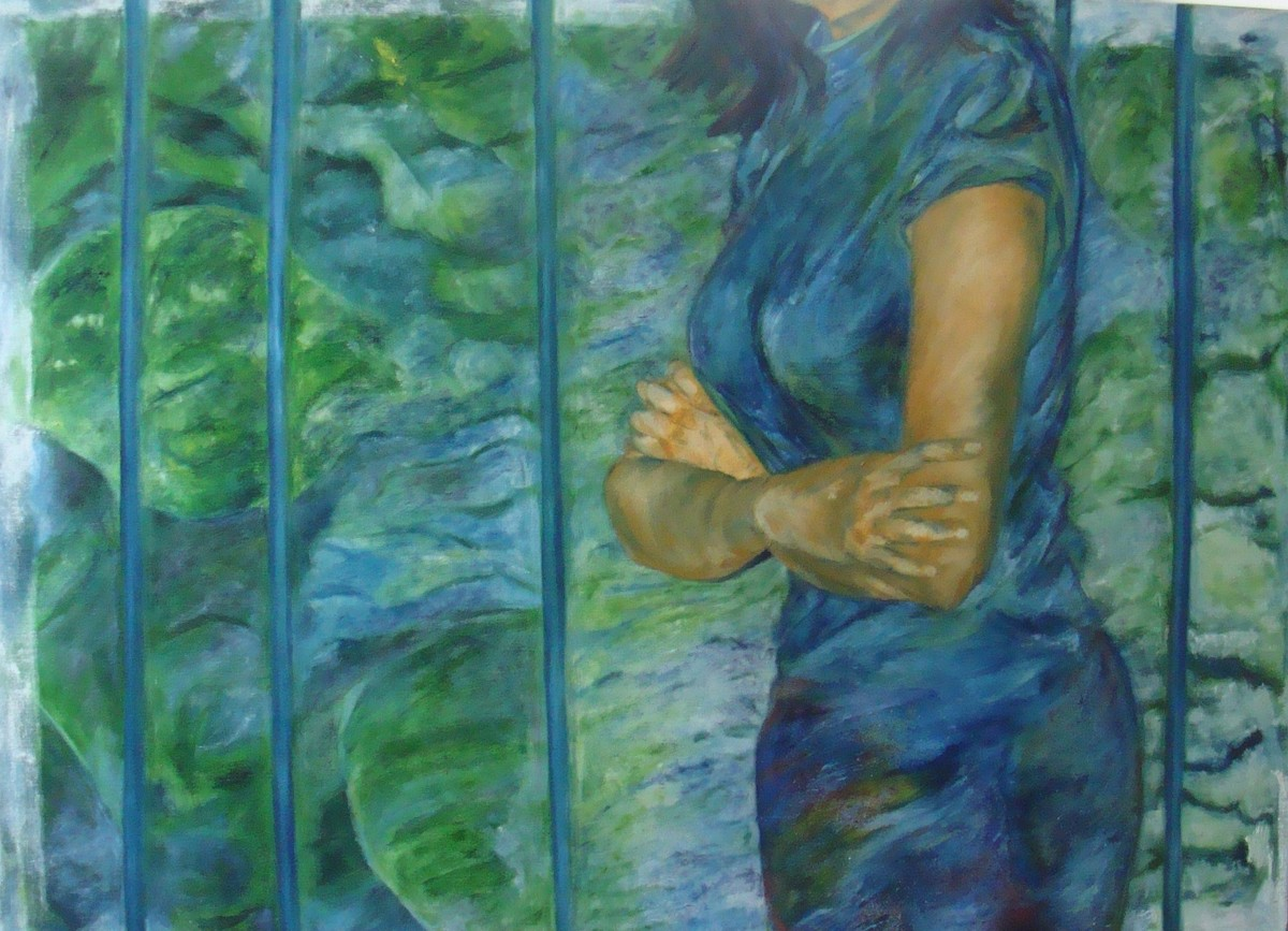 A Meaning- Making Capacity by Manu Singh, Expressionism Painting, Oil on Canvas, Green color