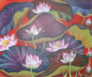 Lotus Pond by Bratin Khan, Impressionism Painting, Tempera on Canvas, Brown color