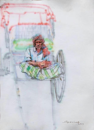 rickshawala by Sreenivasa Ram Makineedi, Expressionism Painting, Watercolor on Paper, Gray color