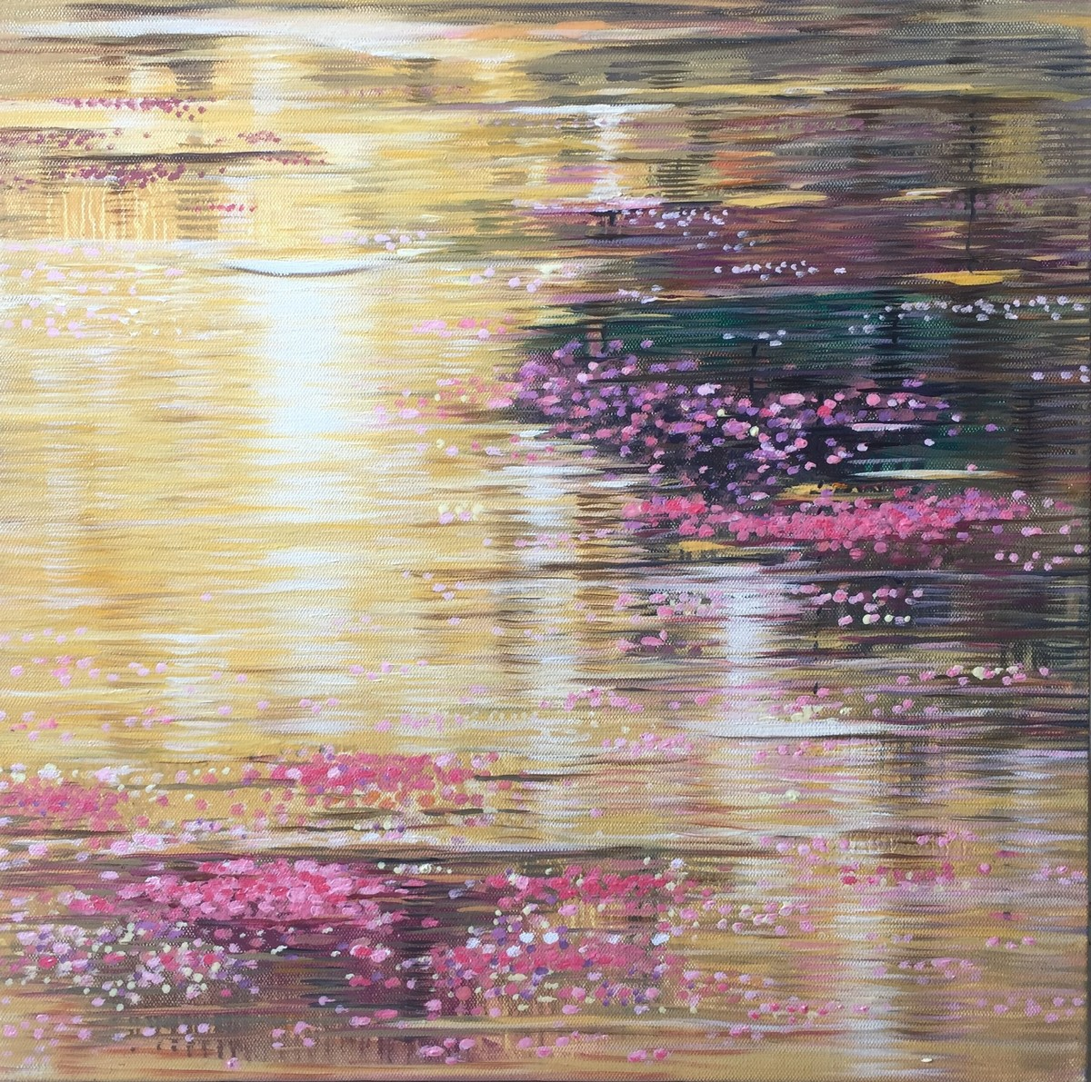 Reflections 2 by Madhuri Bhaduri, Impressionism Painting, Oil on Canvas, Yellow color