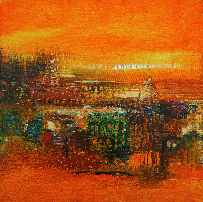 Glimpses by Madhuri Bhaduri, Impressionism Painting, Oil on Canvas, Red color