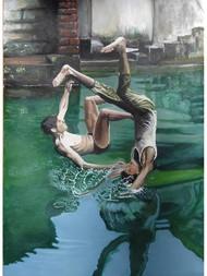 Memories by Sreenivasa Ram Makineedi, Impressionism Painting, Gouache on Paper, Green color