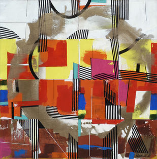 METROPOLITAN SPECTRUM by Prabhinder Lall, Geometrical Painting, Acrylic on Canvas, Brown color