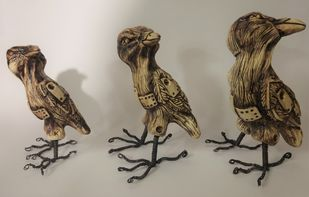 Siblings by Christina Banerjee, Art Deco Sculpture | 3D, Mixed Media, Brown color