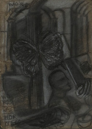 Untitled by C Douglas, Expressionism Drawing, Mixed Media on Paper, Gray color