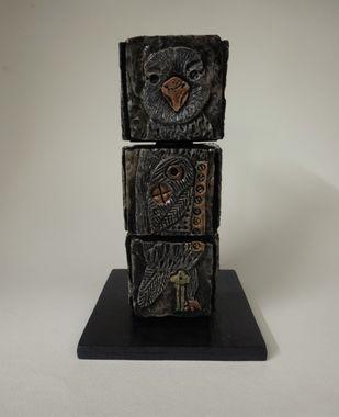 Totem Birds I by Christina Banerjee, Art Deco Sculpture | 3D, Mixed Media, Beige color