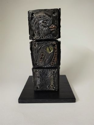 Totem Bird II by Christina Banerjee, Art Deco Sculpture | 3D, Mixed Media, Gray color