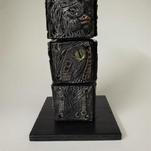 Totem Bird II by Christina Banerjee, Art Deco Sculpture | 3D, Mixed Media, Gray color