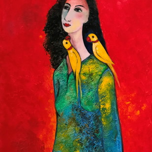 Woman by Ratnakar Ojha, Decorative Painting, Oil on Canvas, Red color