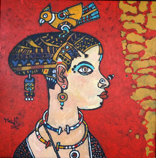 tribal woman 01 by K K Makali, Traditional Painting, Acrylic & Ink on Canvas, Brown color