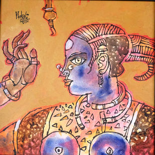 tribal woman 02 by K K Makali, Traditional Painting, Acrylic & Ink on Canvas, Brown color