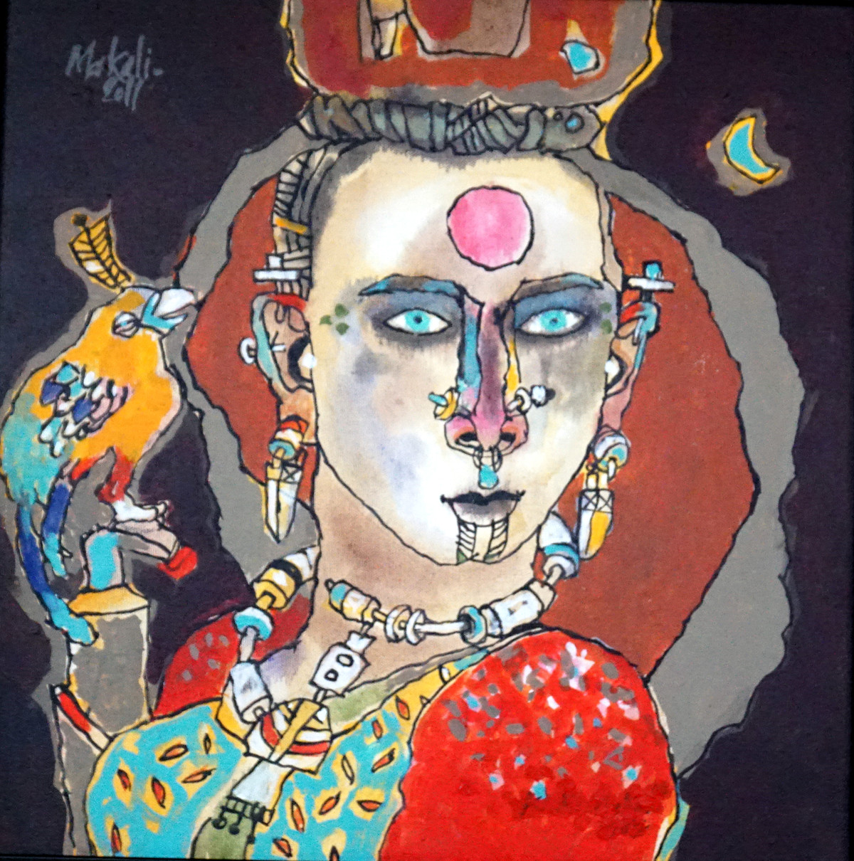 tribal woman 03 by K K Makali, Traditional Painting, Acrylic & Ink on Canvas, Brown color