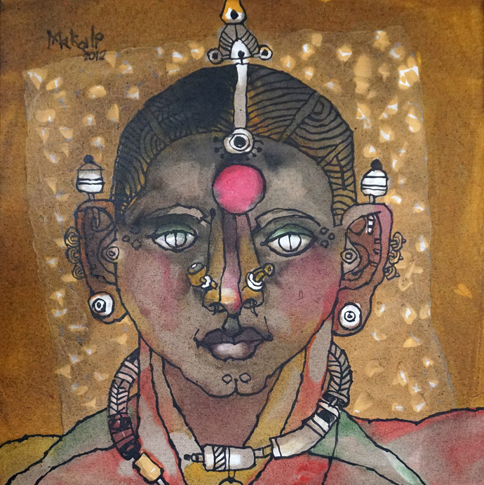 tribal woman 04 by K K Makali, Traditional Painting, Acrylic & Ink on Canvas, Brown color