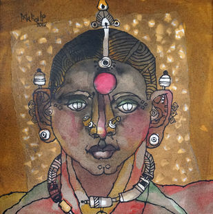 tribal woman 04 Digital Print by K K Makali,Traditional
