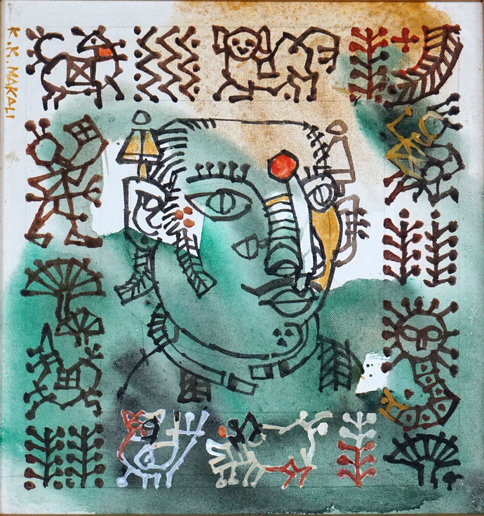 tribal woman by K K Makali, Traditional Painting, Acrylic & Ink on Canvas, Green color