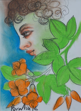 Untitled by Bratin Khan, Expressionism Painting, Pastel on Paper, Green color