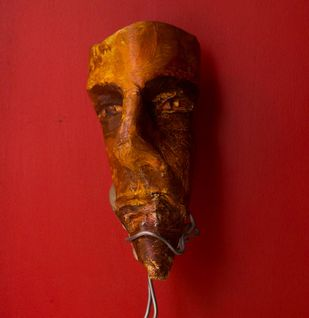 Face 1 (stand included) by Deepak Patil, Art Deco Sculpture | 3D, Acrylic on Paper, Red color