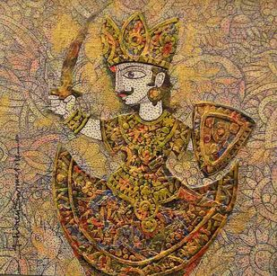 Warrior King by Dhiren Sasmal, Expressionism Painting, Mixed Media on Canvas, Brown color