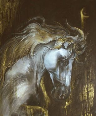 Horse - 1 by Dhanashri Kale , Impressionism Painting, Oil on Canvas, Brown color