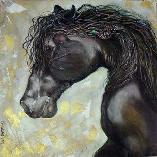Horse - 4 by Dhanashri Kale , Impressionism Painting, Oil on Canvas, Gray color