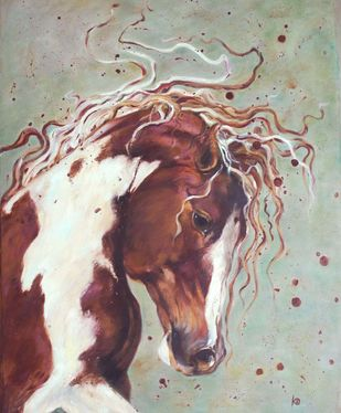 Horse - 5 by Dhanashri Kale , Impressionism Painting, Oil on Canvas, Beige color