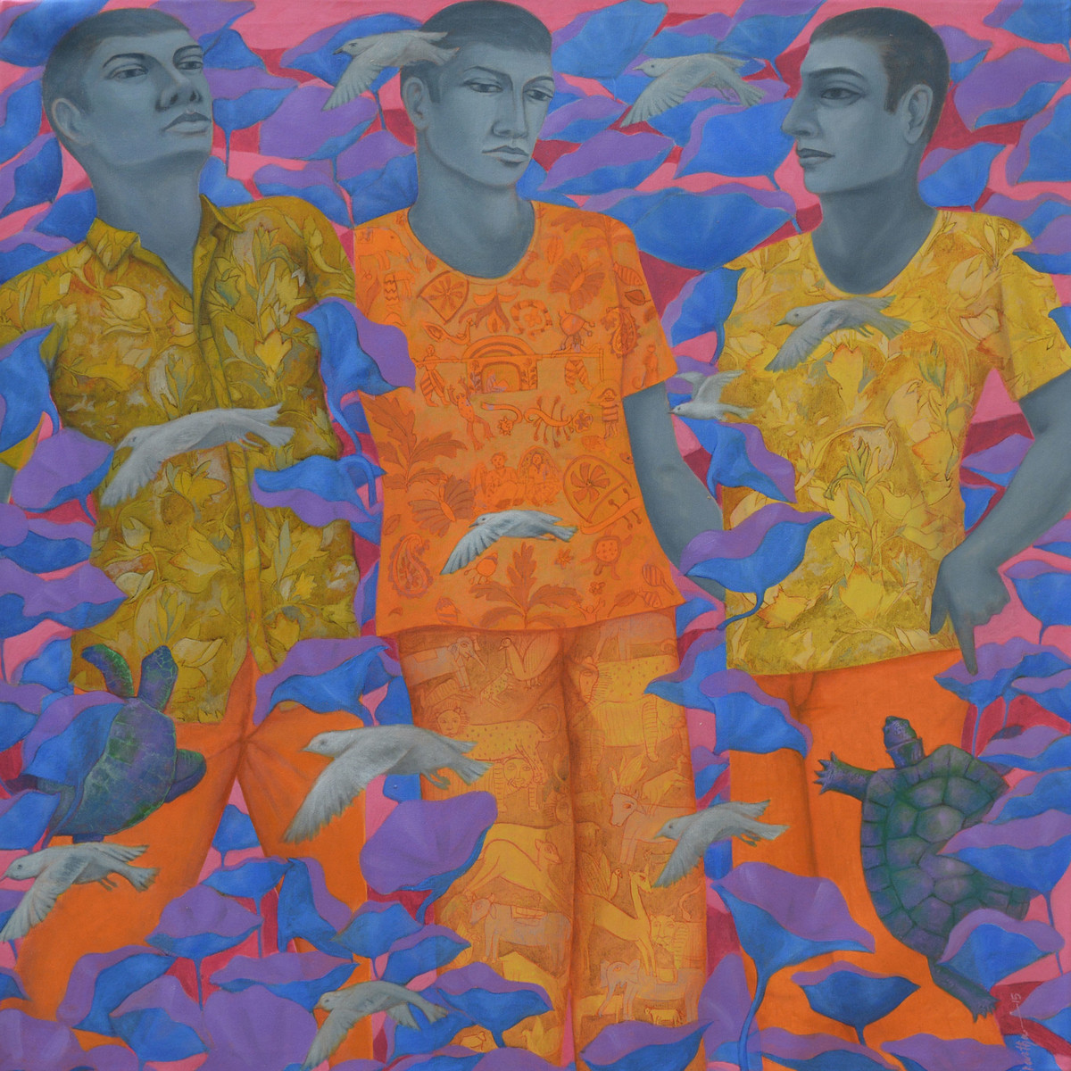 Man in Nature by Partha Mondal, Expressionism Painting, Oil & Acrylic on Canvas, Brown color