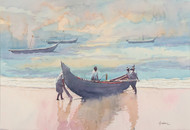 Untitled by Madhu V, Impressionism Painting, Watercolor on Paper, Beige color