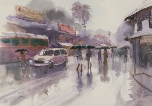 Untitled by Madhu V, Impressionism Painting, Watercolor on Paper, Brown color