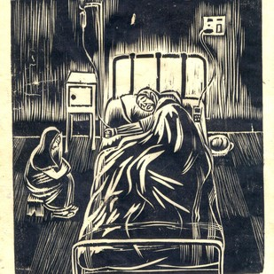 The Patient by Treibor Mawlong, Expressionism Printmaking, Wood Cut on Paper, Gray color