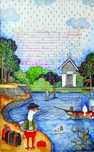 Hill Lake Trip by Bakula Nayak, Pop Art Painting, Mixed Media on Paper, Gray color