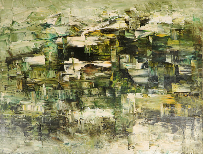Untitled by K.C. Murukeson, Abstract Painting, Acrylic on Canvas, Beige color