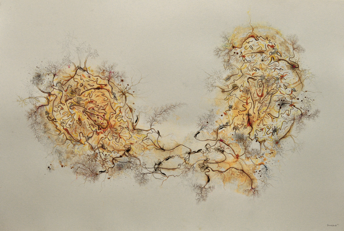 Weaving Land by Pranati Panda, Abstract Painting, Mixed Media on Paper, Beige color
