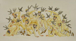 The Bird Attack by Shrimanti Saha, Expressionism Painting, Mixed Media on Paper, Beige color