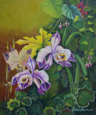 Garden 2 by Debarati Roy Saha, Impressionism Painting, Oil on Canvas, Green color