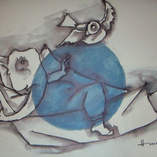 Untitled by M F Husain, Expressionism Painting, Lithography on Paper, Gray color